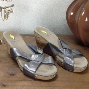 Volatile Silver Leather Strap Cork Wedge S…
